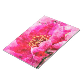 peony watercolor pink notepad