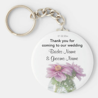 Peony Wedding Souvenirs Keepsakes Giveaways Basic Round Button Key Ring