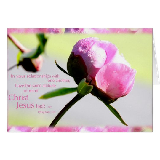 peony with Phillipians 2:8 verse Card
