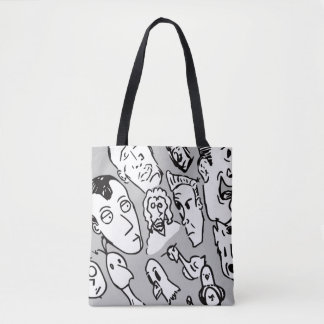 People and Birds Doodle Tote Bag