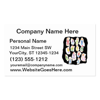 People Colorful Figures Drawing Torn paper against Business Card