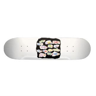 People Colorful Figures Drawing Torn paper against Custom Skate Board