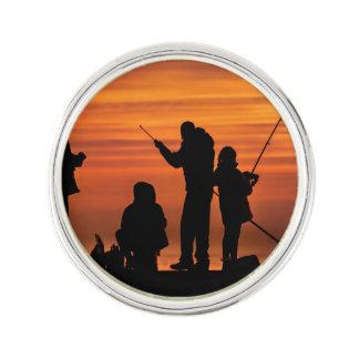 People Fishing at Breakwater Lapel Pin