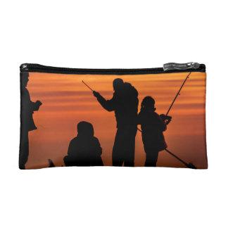People Fishing at Breakwater Makeup Bag
