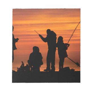 People Fishing at Breakwater Notepad