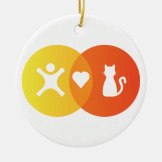 People Heart Cats Venn diagram Ceramic Ornament
