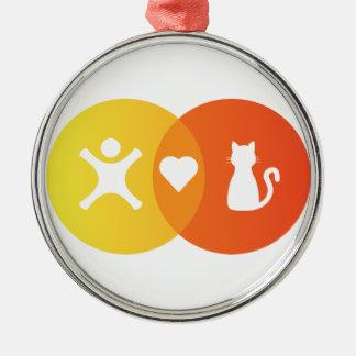 People Heart Cats Venn diagram Metal Ornament