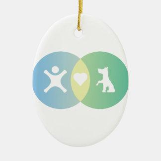 People Heart Dogs Venn diagram Ceramic Ornament
