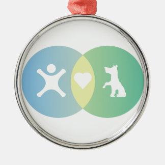People Heart Dogs Venn diagram Metal Ornament