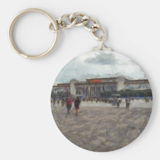People in front of Great Hall of China Basic Round Button Key Ring