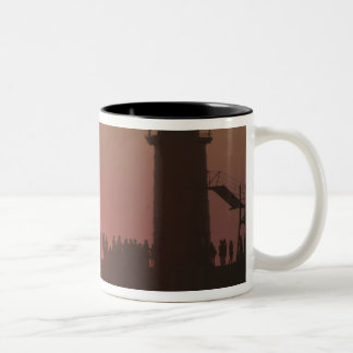 People lighthouse sunset silhouette at South Two-Tone Mug