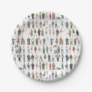 People of NYC New York City Watercolor Plates 7 Inch Paper Plate