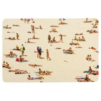 People On Beach Sandy Floor Mat