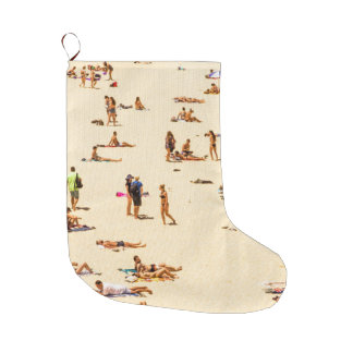 People On Beach Sandy Large Christmas Stocking