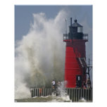 People on jetty watch large breaking waves in poster