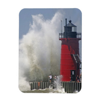 People on jetty watch large breaking waves in rectangular photo magnet
