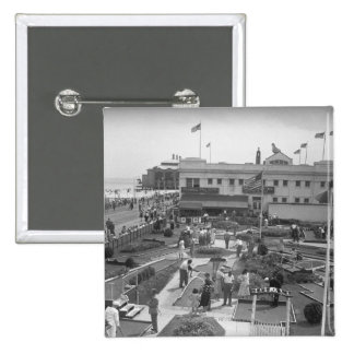 People playing mini golf elevated view B&W 15 Cm Square Badge