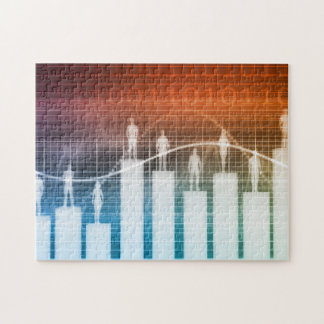 People Standing on a Bar Chart Jigsaw Puzzle