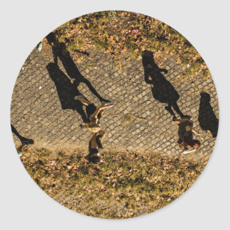 People Themed, Aerial View Of People Walking Makes Round Sticker