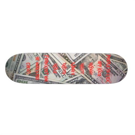 People to kick off skateboard deck