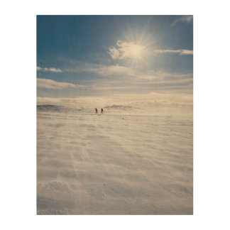 People walking over snow, Iceland Wood Wall Art