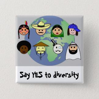 People worldwide anti racism pro diversity 15 cm square badge