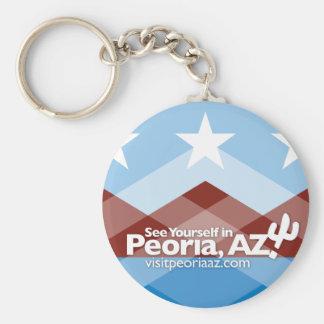 Peoria Flag Keychain, Circle Key Ring