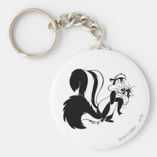 Pepe Le Pew and Penelope Basic Round Button Key Ring