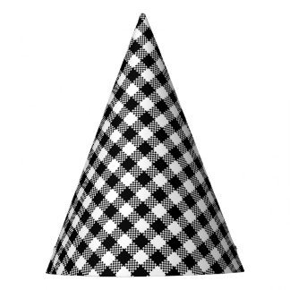Pepita Squares pattern black & white + your ideas Party Hat