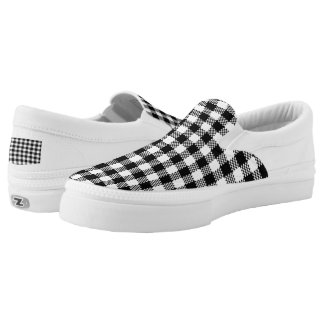 Pepita Squares pattern black & white + your ideas Slip-On Shoes