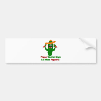 Pepper Cactus Says Eat More Peppers Bumper Sticker