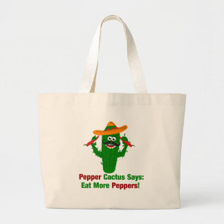 Pepper Cactus Says Eat More Peppers Large Tote Bag