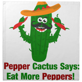 Pepper Cactus Says Eat More Peppers Napkin