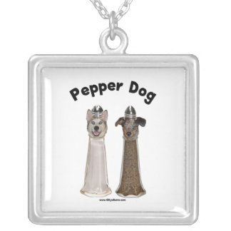 Pepper Dog and Salty Dog Square Pendant Necklace