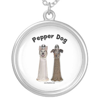 Pepper Dog and Salty Dog Round Pendant Necklace