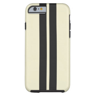 Pepper White Black Racing Stripes Any Color Tough iPhone 6 Case