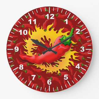 Pepper with flame wallclocks