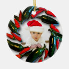 Pepper Wreath Baby's First Christmas Photo Ceramic Ornament