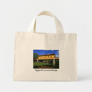 Pepperell MA New Covered Bridge River View Mini Tote Bag