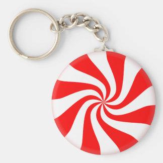 Peppermint Button Keychain