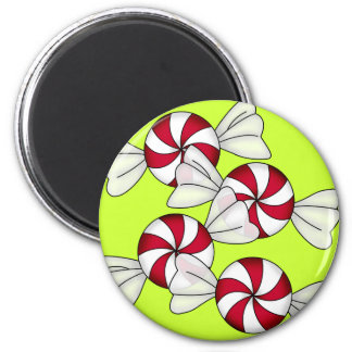 Peppermint Candies 6 Cm Round Magnet