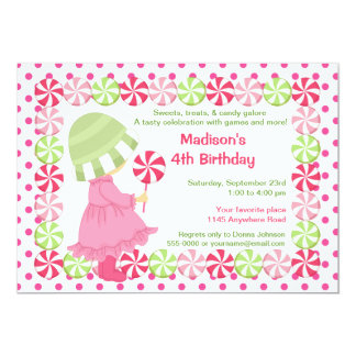 Peppermint Candy and Polkadots Girls Birthday Card