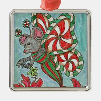 Peppermint Candy Butterfly Mouse Holiday Art Silver-Colored Square Decoration