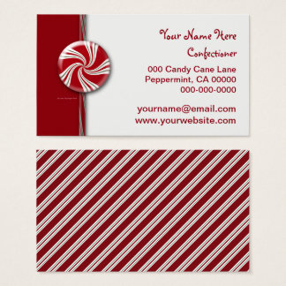 Peppermint Candy Cane Stripes Red White Green Business Card