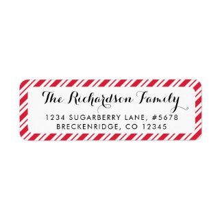 Peppermint Candy Cane Stripes Return Address Label