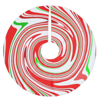 Peppermint Candy Cane Swirl Red White Green Brushed Polyester Tree Skirt