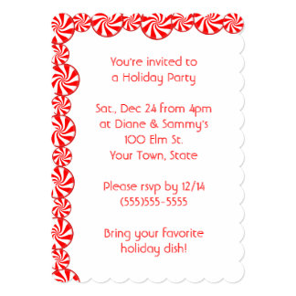 Peppermint Candy Christmas Holiday Party Card