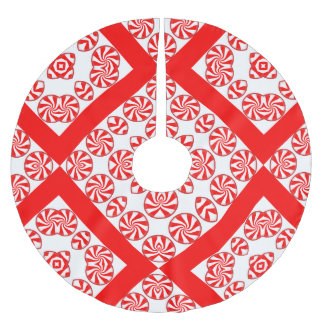 Peppermint Candy Christmas Tree kirt Brushed Polyester Tree Skirt