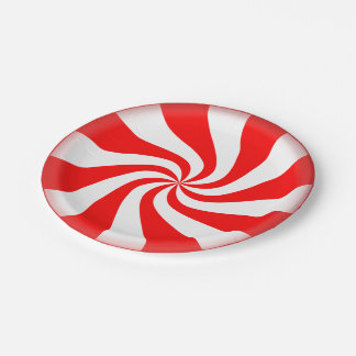 Peppermint Candy Disposable Holiday Paper Plates 7 Inch Paper Plate