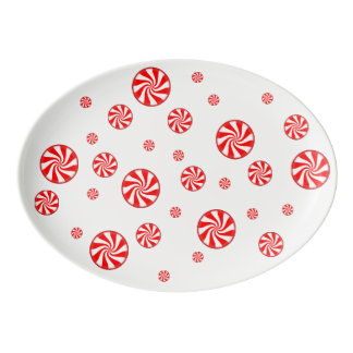 Peppermint Candy Holiday Serving Platter Porcelain Serving Platter
